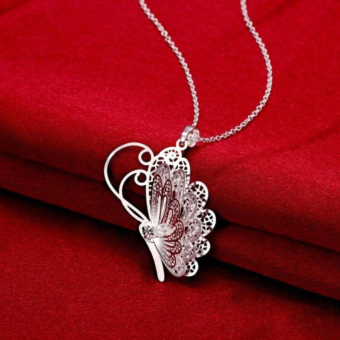 Plata Plateado Cadena Collar Colgante de mariposa preciosa 3D Mujer Joyas su