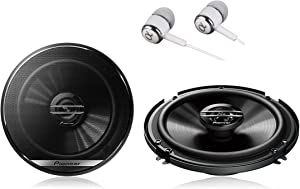 """Pioneer TS-G1620F 600 Watts Max Power 6-1/2"""" 2-Way G-Series Coaxial Full Range Car Audio Stereo Speakers with ALPHASONIK EARBUDS"""