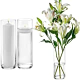 Set of 3 Glass Cylinder Vases 12 Inch Tall - Multi-use: Pillar Candle, Floating Candles Holders or Flower Vase – Perfect…