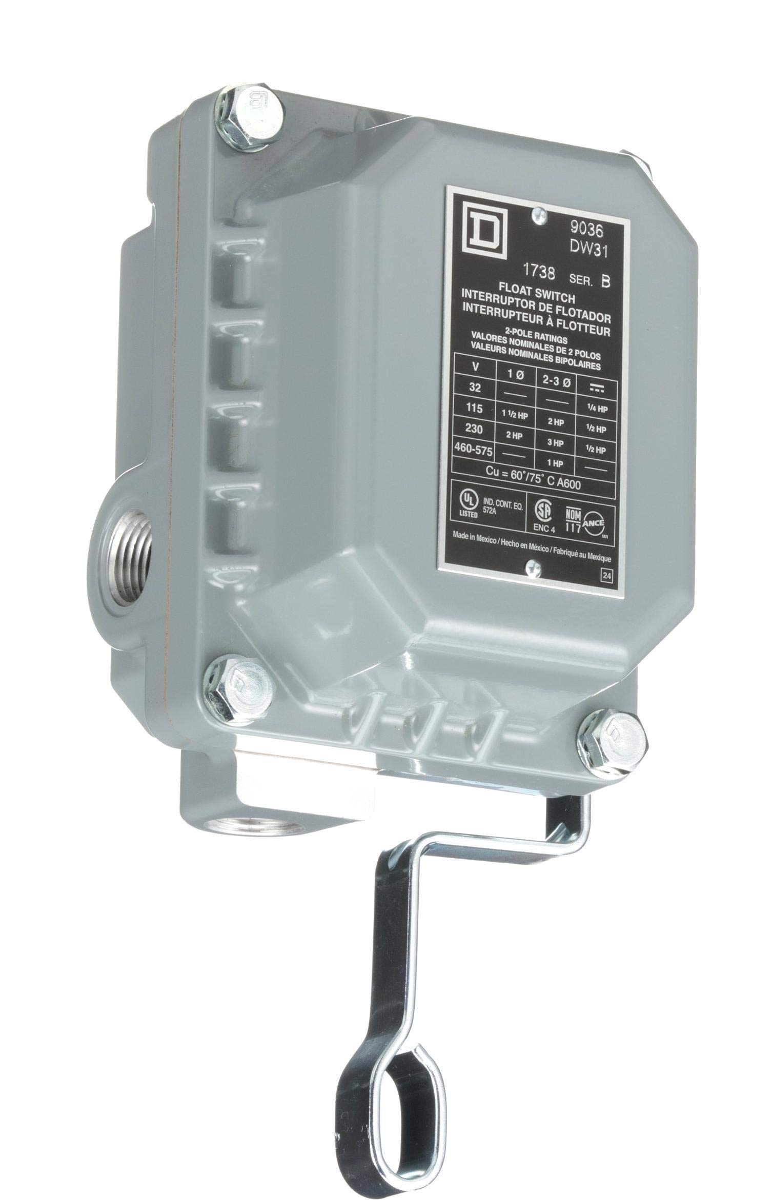 Square D 9036DW31 Commercial Open Tank Float Switch, NEMA 4/7/9, Contacts Close on Rise by Square D by Schneider Electric (Image #2)