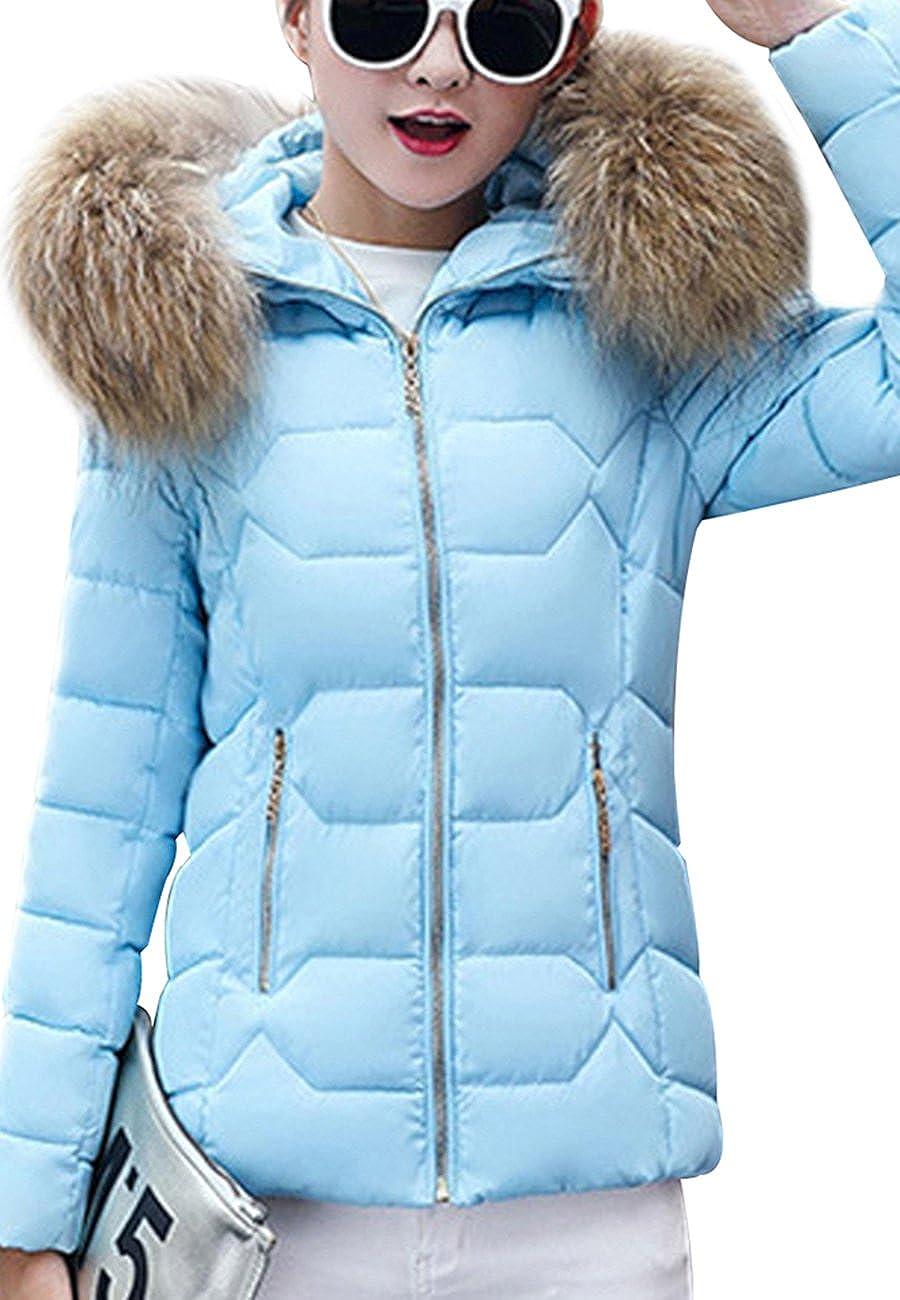 OMZIN Women's Short Down Coat Cotton Parka Faux Fur Collar Hooded Coat
