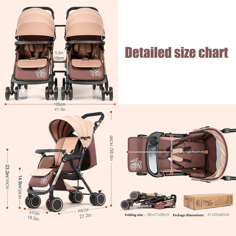 Cochecito de beb/é Desmontable con Respaldo Ajustable Ligero Seguridad Confortable Doble Carrito de Cuatro Ruedas Plegable Lado a Lado,A ZJGOODS Cochecito Doble