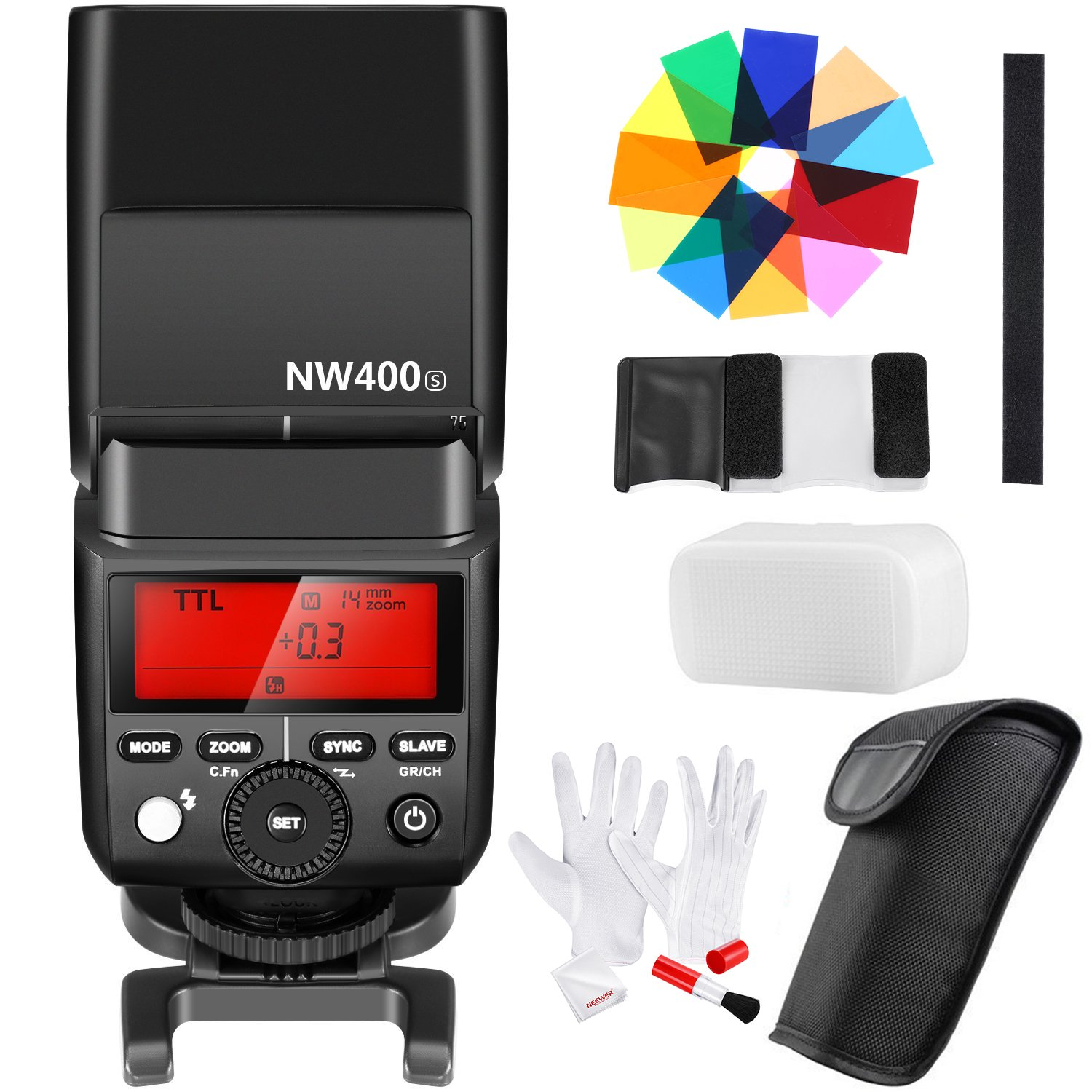 Neewer 2.4G HSS 1/8000s TTL GN36 Wireless Master Slave Flash Speedlite, 12 Color Filters, 3-In-1 Cleaning Kit for Sony A7 A7R A7S A7II A7RII A7SII A6000 A6300 A6500 A77II A58 A99 RX10 Cameras(NW400S) by Neewer