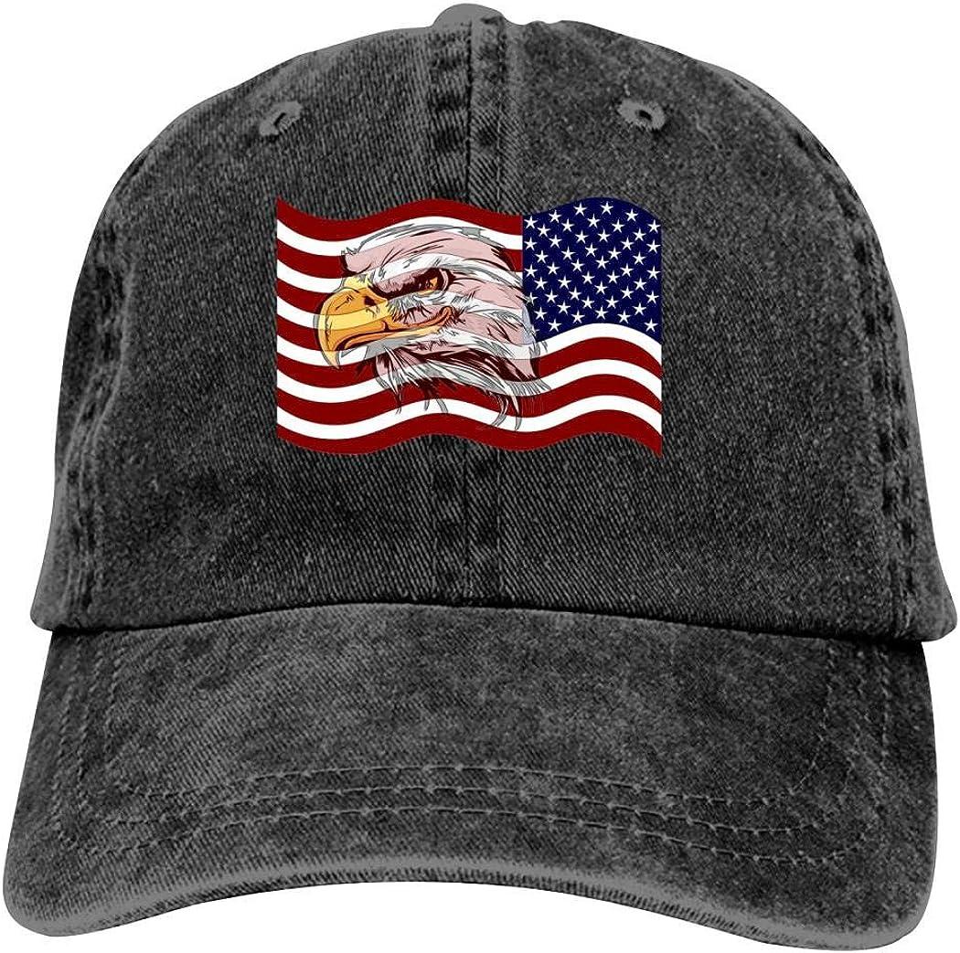 663 TEJNFDHSRRE Unisex USA Flag Cowboy Hat Adjustable Casual Baseball Cap Denim Dad Hat