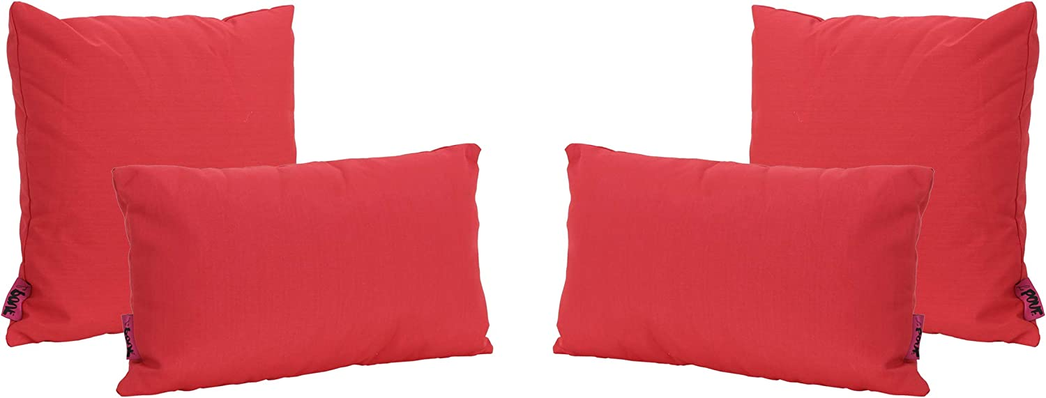 Christopher Knight Home Coronado Outdoor Water Resistant Square and Rectangular Throw Pillows, 4-Pcs Set, Red