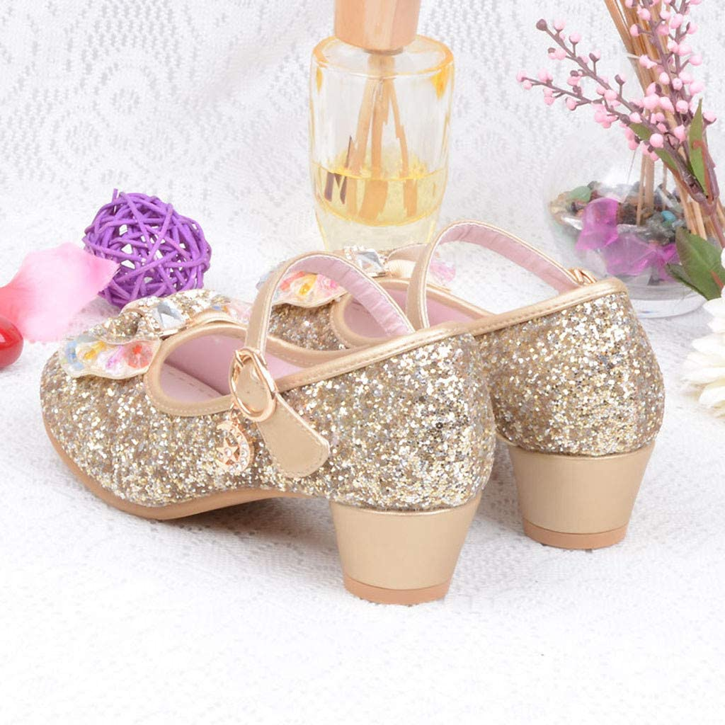Sparkle Princess Shoes for Girls Sequin Bowknot Low Chunky Heel Shoes Bling Bling Buckle Shoes Mary Jane Princess Party Dress Shoes for Toddlers /& Girls