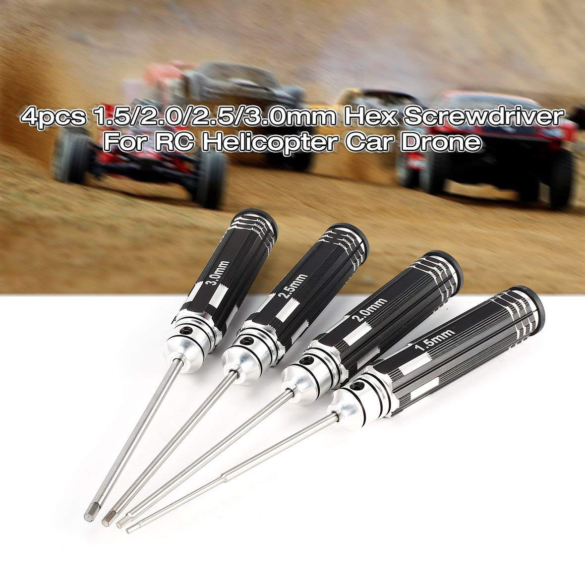 Tivolii 4pcs Hex Screwdriver Set 1.5 2.0 2.5 3.0mm White Steel Tools Kit for RC Helicopter HSP Traxxas Car Racing Drone Aircraft