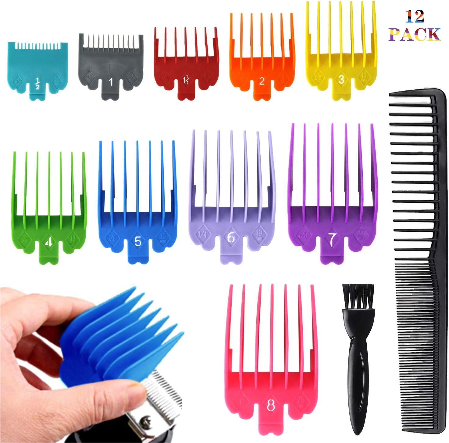 Juego de peines de guía profesional para cortapelos de pelo, juego de protectores de repuesto, 10 colores de 10 longitudes, ideal para cortapelos estándar de 3 mm-25 mm.