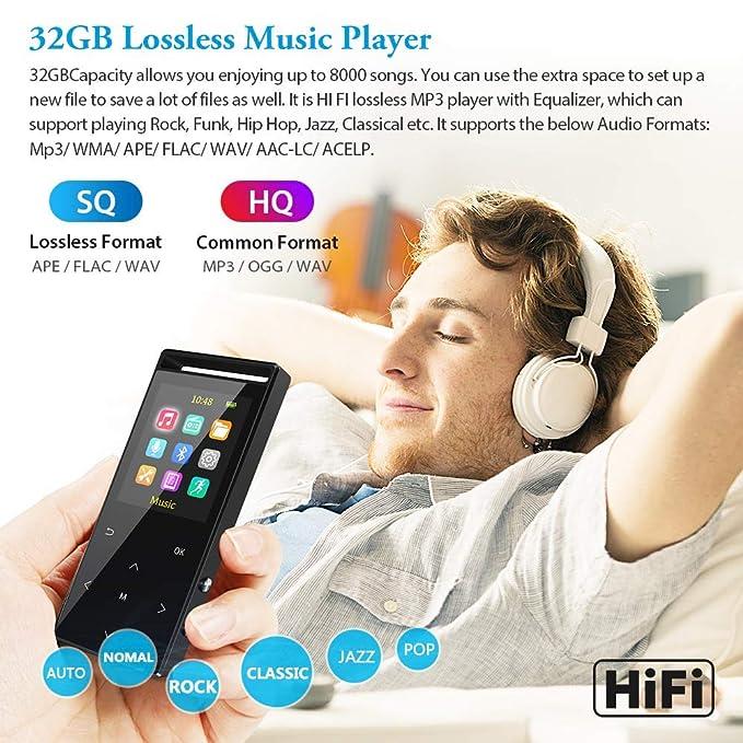 Reproductor de MP3, reproductor de MP3 de 32 GB con Bluetooth ...