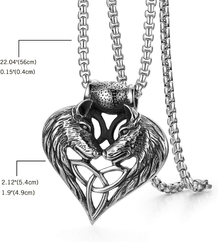 JewelryWe Collier Homme Double t/ête de Loup dominateur r/étro en Forme de Coeur Pendentif Noeud Celtique Irlandais en Acier Inoxydable