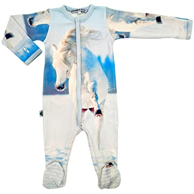 10e250320526 Amazon.com  Inchworm Alley Footie - Wild Horse - Unisex Baby Onesie ...