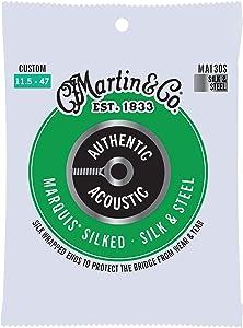 Martin Guitar MA130S Authentic Acoustic Custom-Gauge Marquis Silked Strings, Silk & Steel Acoustic Guitar Strings