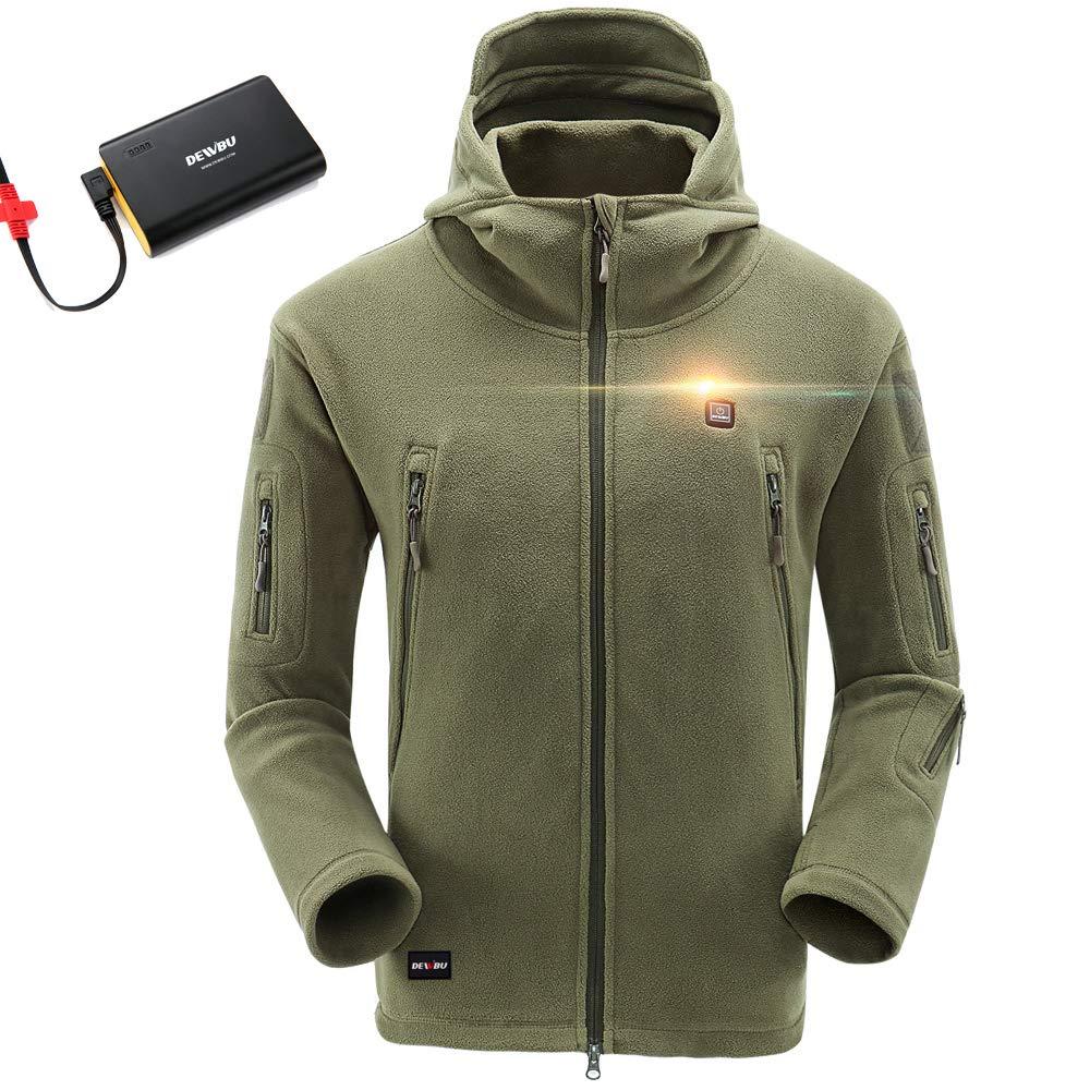 20230a37b Amazon.com: DEWBU Men's Full-Zip Polar Fleece Heated Hoodie with 6600mAh  USB Battery Pack DB-517-12 Months Warranty: Clothing