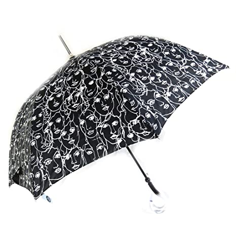 Paraguas de caña Joy Heartblanco negro ...