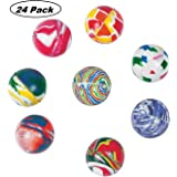 Marble Bouncing Balls - Pack Of 24 - 1.25 Inches Assorted Colors - High Bouncing Balls - For Kids Boys And Girls Great Party Favors, Bag Stuffers, Fun, Toy, Gift, Prize, Piñata Fillers - By Kidsco