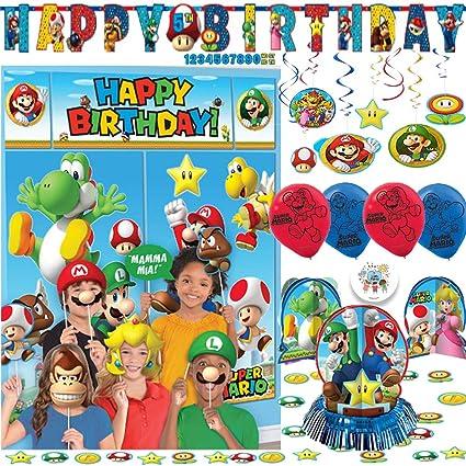 Super Mario Bros Paquete De Decoración De Fiesta De Cumpleaños Con Escenario Y Accesorios Para Fotos Kit De Decoración De Mesa 6 Globos Decoraciones De Remolino Y Pin Exclusivo De Another