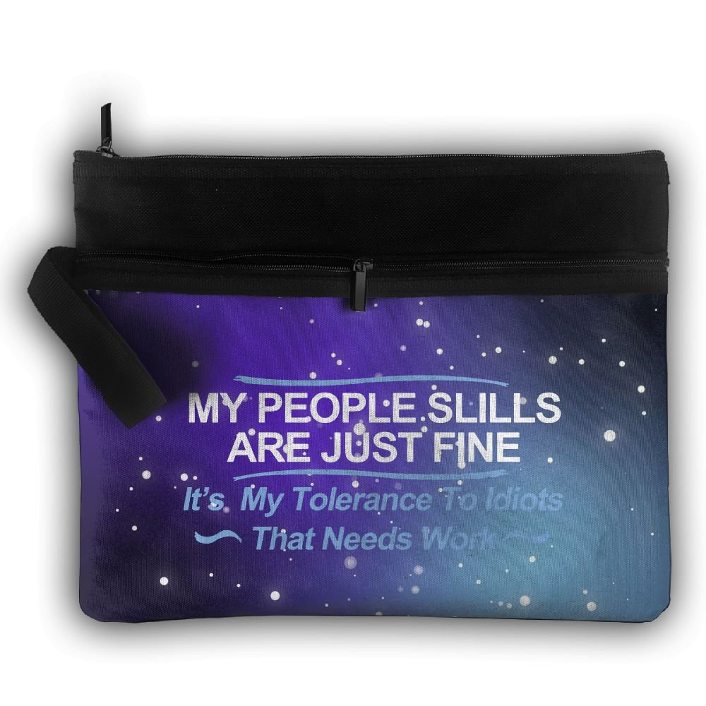 My People Skills Are Fine It's My Idiots Double Layers Zipper Cosmetic Bag Makeup Brush Holder Bag