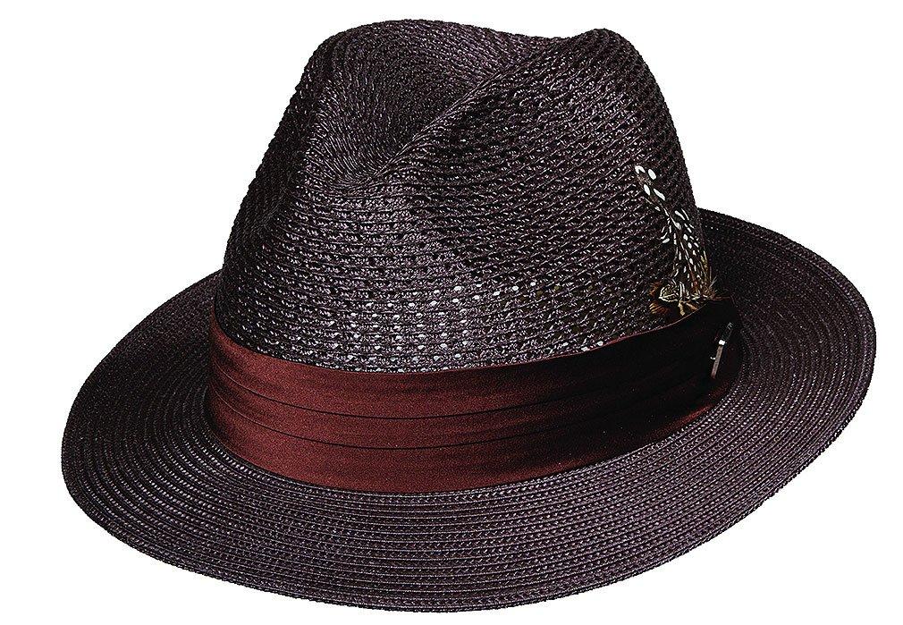 Stacy Adams Men's Vent Paper Milan Pinch Front Hat,Brown,L