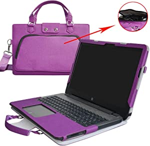 "HP Notebook 15 Case,2 in 1 Accurately Designed Protective PU Leather Cover + Portable Carrying Bag for 15.6"" HP Notebook 15 15-bs000 15-bw000 Series Laptop(Not fit 15-ac000/15-ay000/15-ba000),Purple"