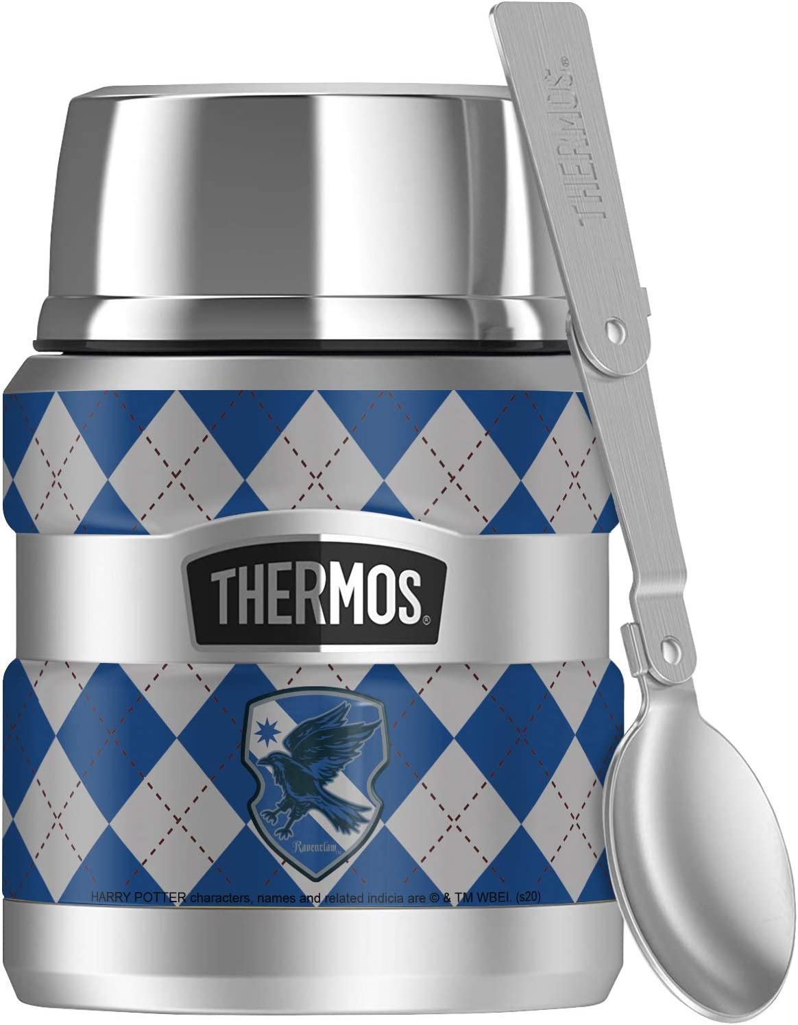 Harry Potter Ravenclaw Plaid Sigil, THERMOS STAINLESS KING Stainless Steel Food Jar with Folding Spoon, Vacuum insulated & Double Wall, 16oz