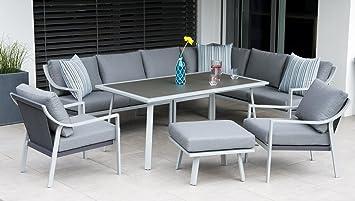 Aluminium Garten Sitzgruppe Essgruppe Mit Eckbank Tisch Und Sofas Variabel Set Harvard Mit 2 Sofas Und Hocker