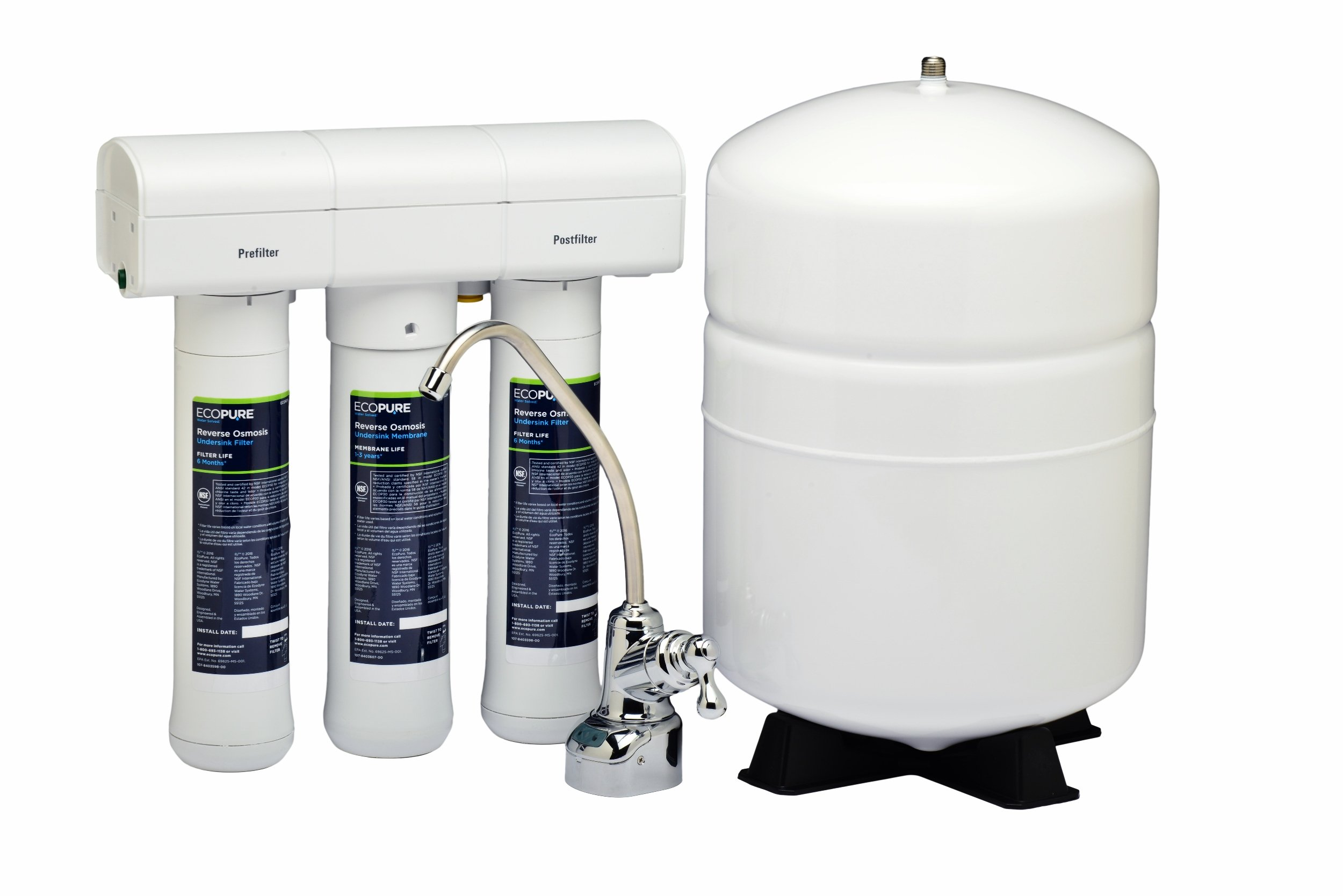 EcoPure Reverse Osmosis Under Sink Water Filtration System (ECOP30) | NSF Certified | Bottled Water Quality for a Fraction of the Price