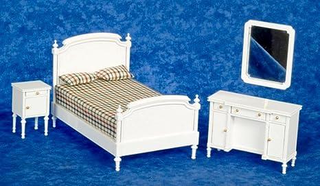 Camera Da Letto Legno Bianco : Town square miniatures miniatura per casa delle bambole in legno