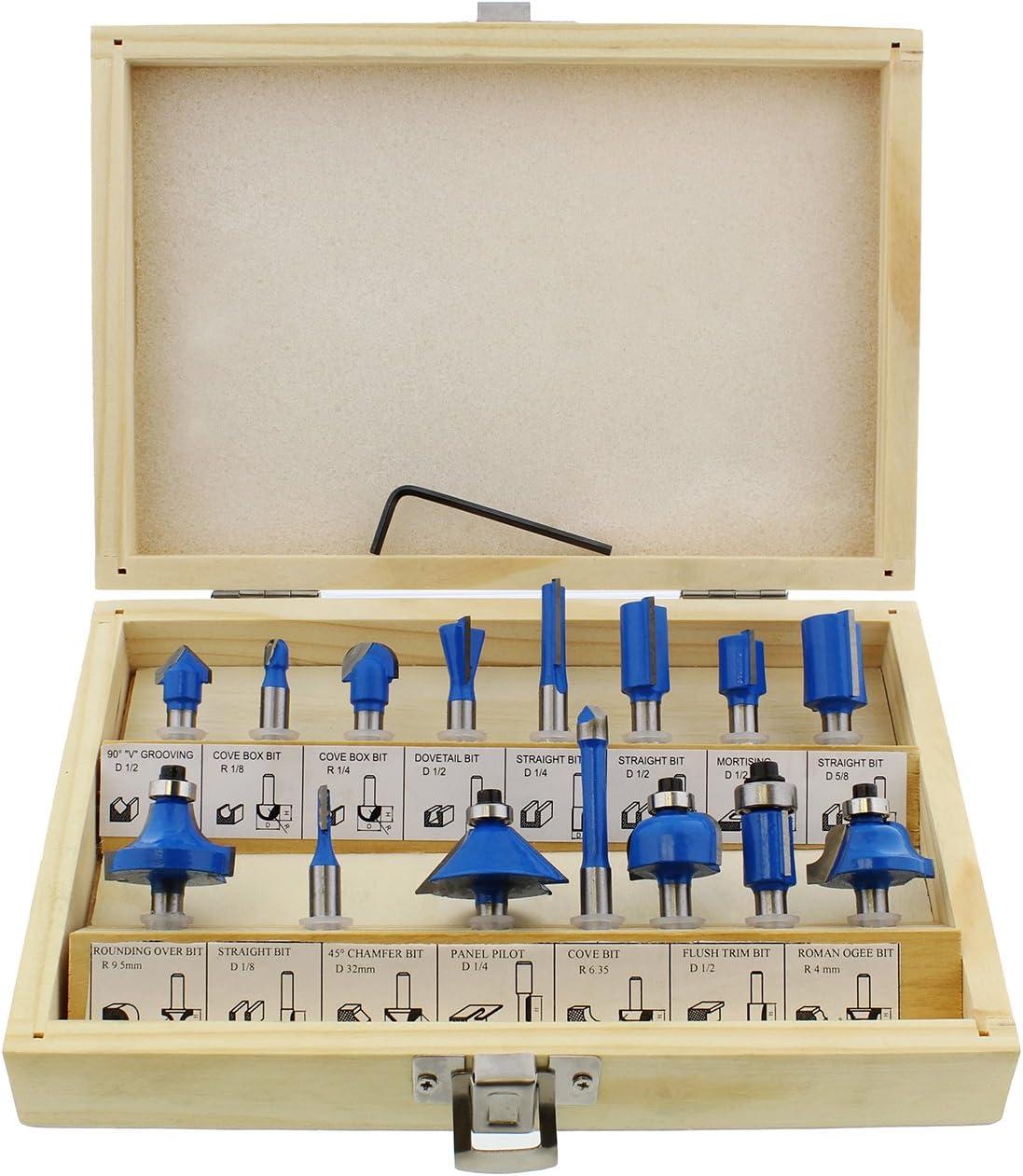 """ABN Tungsten Carbide Router Bit 15-Piece Set 1//2/"""" Inch Shank Drill Bits Kit"""