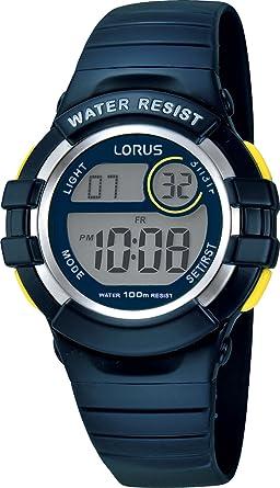 3bfdeb15e Lorus Digital Chronograph Blue Reisn Strap Youth Watch R2381HX9: Babar:  Amazon.co.uk: Watches