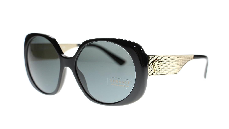 9d1df258c9b2a Amazon.com  Versace Women s Sunglasses VE4331 GB1 87 Black Grey Lens 57mm  Authentic  Clothing