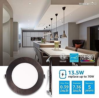 TIANYU 6 Pcs LED Recessed Ceiling Spotlights Ultra-Thin IP44 5W 230V 75-95mm Tri-Tone Light Beam Angle 120/° Spotlight Downlight Lighting for Bathroom Living Room Kitchen Energy Class A+