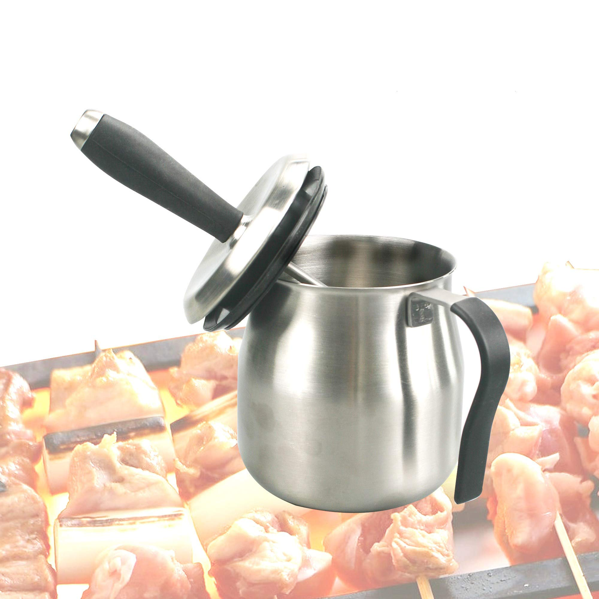 Qidea BBQ Basting Pot with Basting Brush - Stainless Steel Barbecue Sauce Pot with Silicon Basting Brush by, 32 OZ by Qidea
