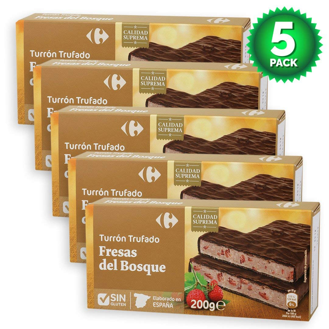 Amazon.com : 5 Pack Carrefour Chocolate-Coated Spanish Nougat with Wild Strawberries 200g - Made In Spain - Supreme Quality - Delicious Nougat - Gluten-Free ...