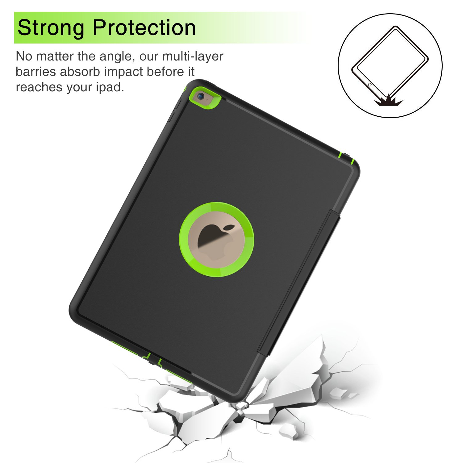 Qelus iPad Air2 Case, Three Layer Hybrid Shockproof Rugged Protective Heavy Duty with Magnetic Stand, Smart Cover Auto Wake/Sleep Protective Case Cover for Apple iPad Air 2(2014 Released),Black+Green by Qelus (Image #8)