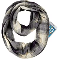 GERINLY Plaid Zip Pocket Scarf for Winter Travel Thick Infinity Loop Unisex Hidden Circle Scarf