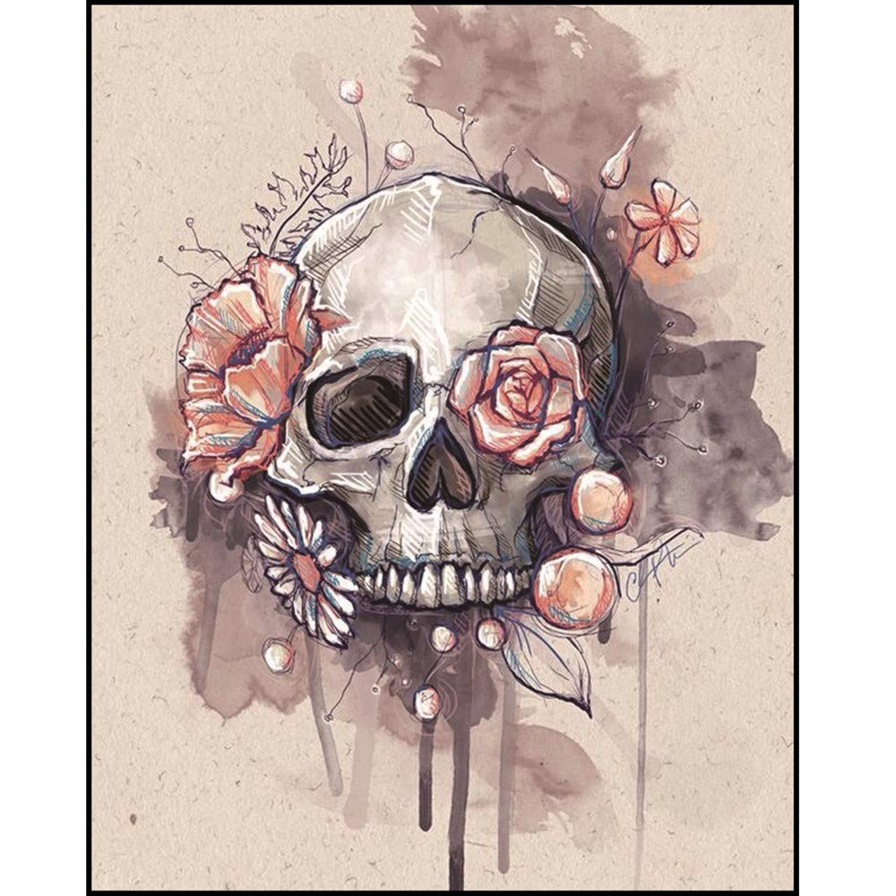 LLguz Halloween Skull 5D Embroidery Paintings Rhinestone Pasted DIY Diamond Paintings Part Round Embroidery Kits Arts Home Decoration Wall Decoration