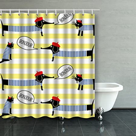 IMbeesen Decor Shower Curtains Design French Style Cats Dogs Saying Bonjour Animals Wildlife Beauty Fashion Polyester