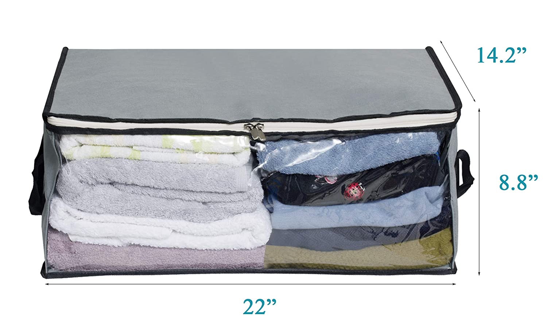Clothes Storage Bag Under Bed Clothing Organiser Bins Zip Comforter Bag 3pcs  !