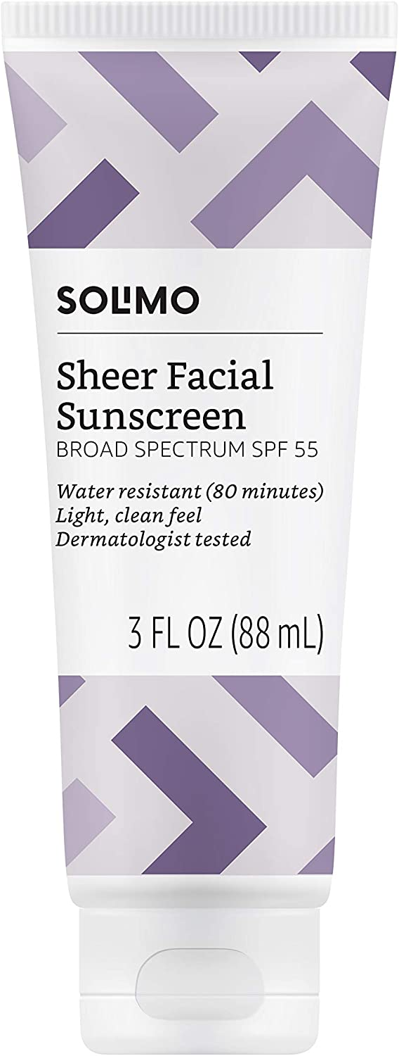 Amazon Brand - Solimo Sheer Face Sunscreen SPF 55, 3.0 Fluid Ounce (Pack of 1)