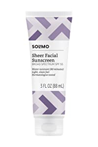 Amazon Brand - Solimo Sheer Facial Sunscreen SPF 55, 3.0 Fluid Ounce