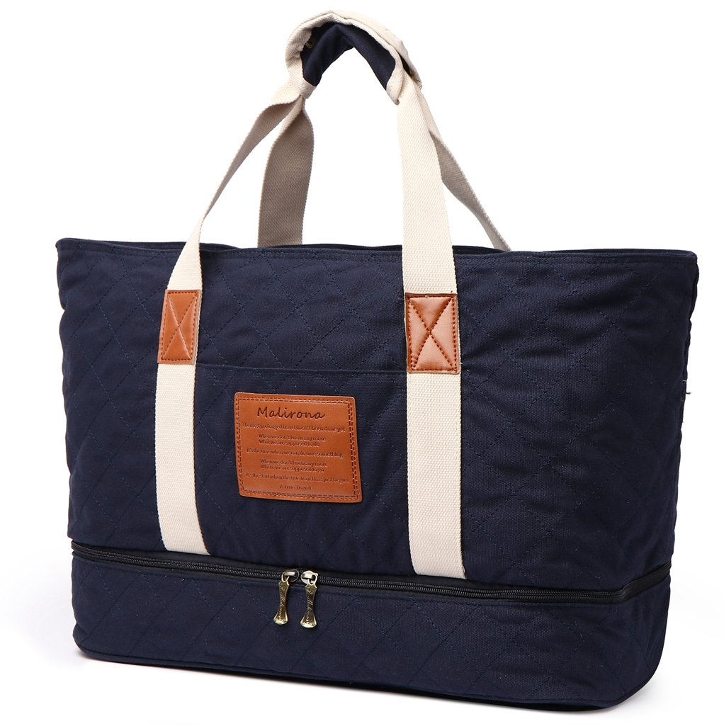Malirona Large Workout Bag Sport Gym Tote Bag for Women with Shoes Organizer (Navy Blue)