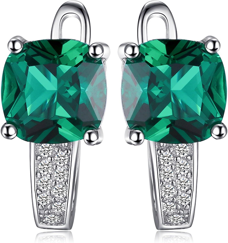 JewelryPalace Pendientes de Aro Con Creado Rubí Zafiro Nano Rusa Imitado Esmeralda Cuadrada Plata de ley 925
