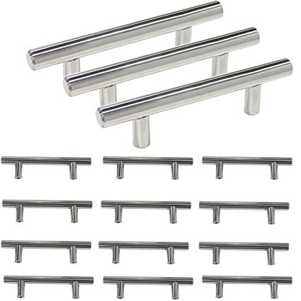 15 Pack Probrico Kitchen Handles And Knobs For Cabinet T Bar Cabinet Handles  Polished Chrome
