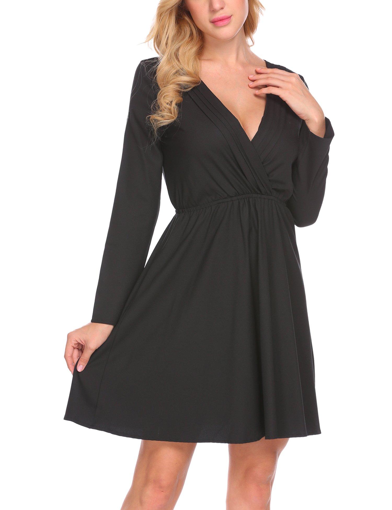 SE MIU Women Casual V Neck Long Sleeve Solid Waist Ruched Pleated Mini Dress,Medium,Black