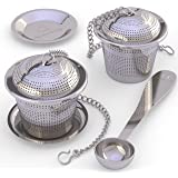 Apace Loose Leaf Tea Infuser (Set of 2) with Tea Scoop and Drip Tray - Ultra Fine Stainless Steel Strainer & Steeper for a Superior Brewing Experience … (Medium Silver)