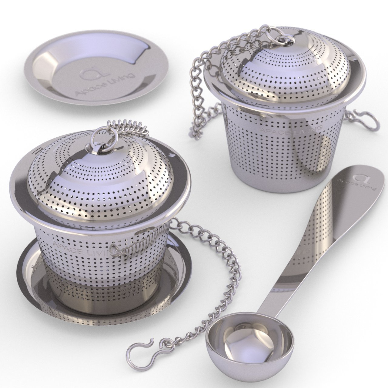 Apace Loose Leaf Tea Infuser (Set of 2) with Tea Scoop and Drip Tray - Ultra Fine Stainless Steel Strainer & Steeper for a Superior Brewing Experience ... (Medium, Silver) by Apace Living