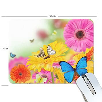 Amazon Com Alirea Spring Flowers And Butterflies Mouse Pads Non