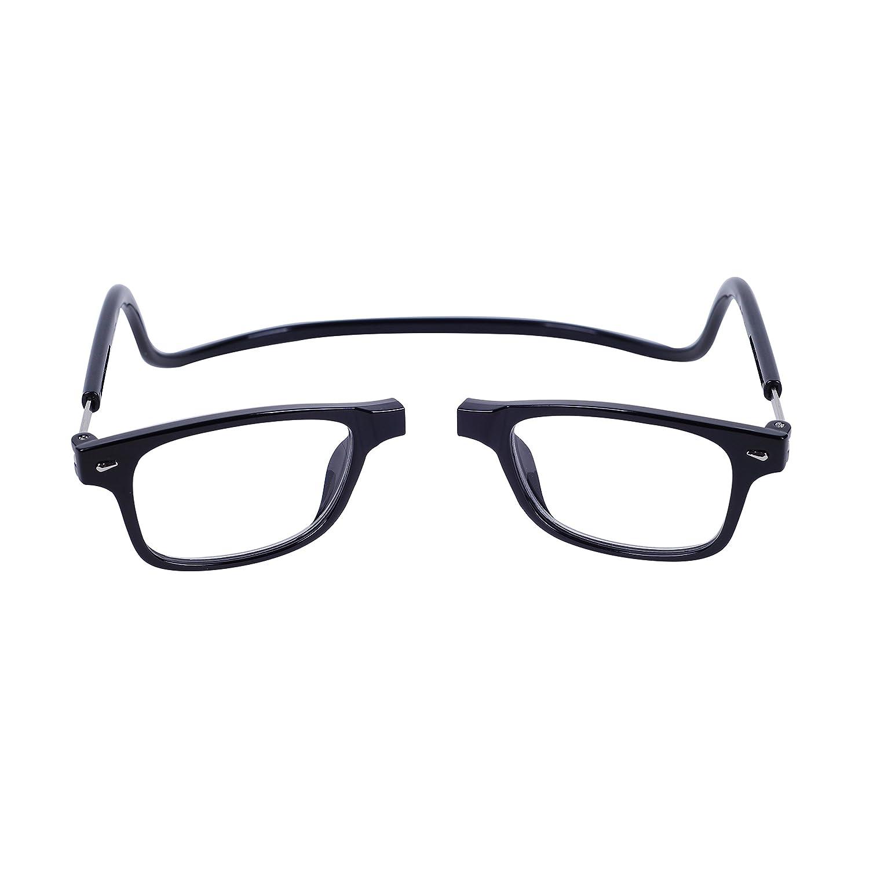 84e9e47268 Magnéticas Gafas de lectura Plegables Negro +3.0 QIXU Presbicia Vista para  Hombre y Mujer Montura ...