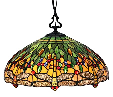 Amora Lighting AM1027HL18B Tiffany Hanging Lamp, Multicolored