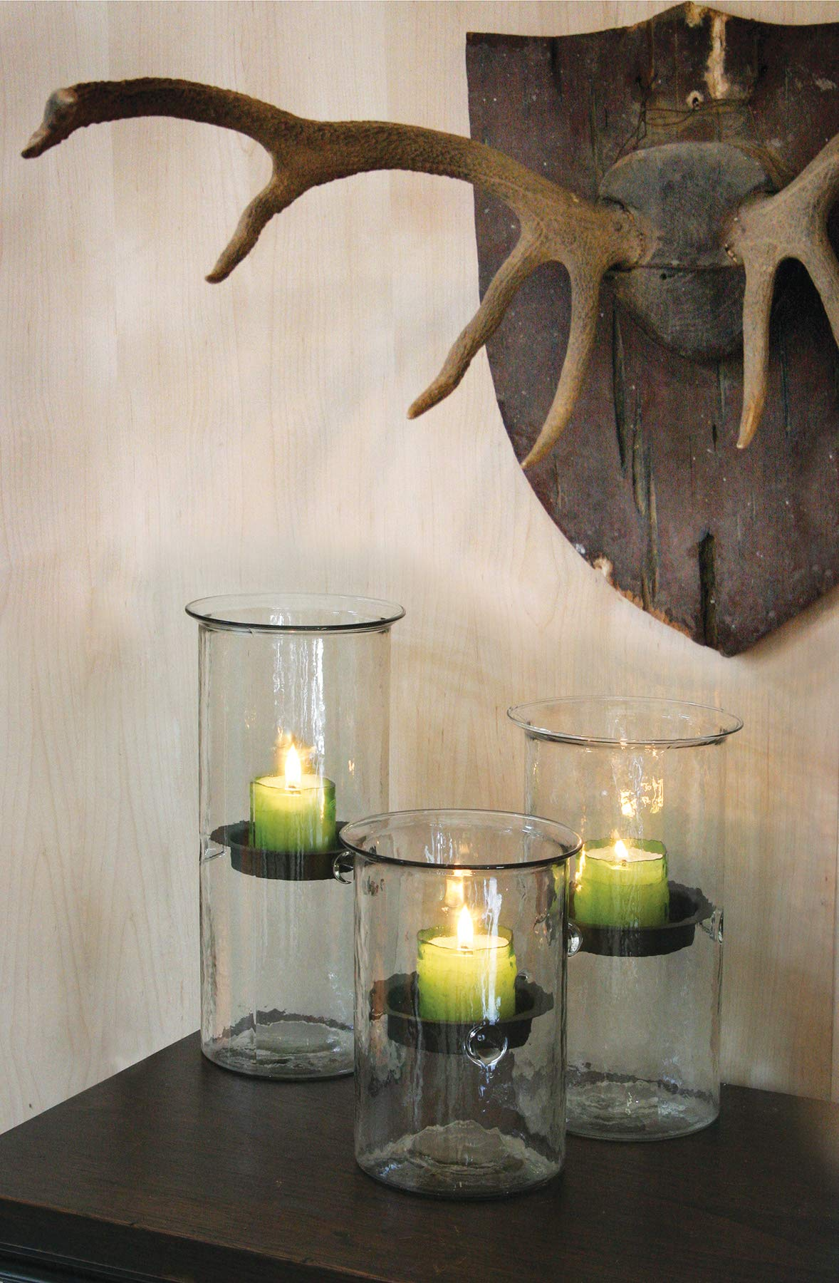 Kalalou Large Mini Glass Candle Cylinder, One Size, Brown